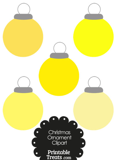 Yellow Round Ornament Clipart from PrintableTreats.com