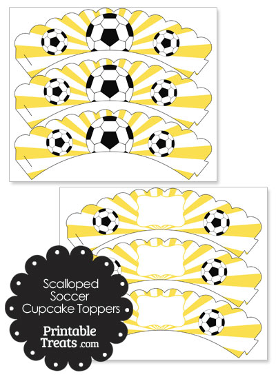 Yellow Scalloped Sunburst Soccer Cupcake Wrappers from PrintableTreats.com