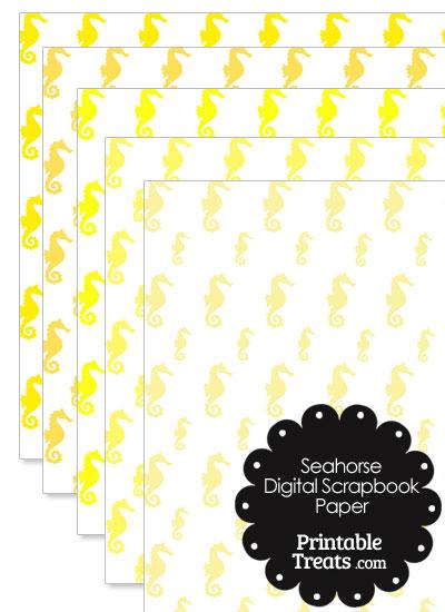 Yellow Seahorse Digital Scrapbook Paper from PrintableTreats.com