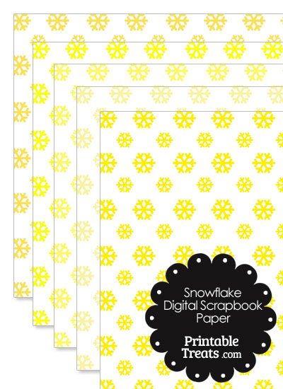 Yellow Snowflake Digital Scrapbook Paper from PrintableTreats.com