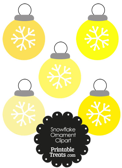 Yellow Snowflake Ornament Clipart from PrintableTreats.com