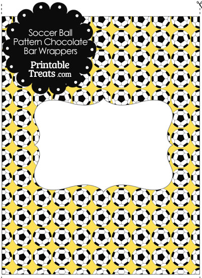 Yellow Soccer Ball Pattern Chocolate Bar Wrappers from PrintableTreats.com