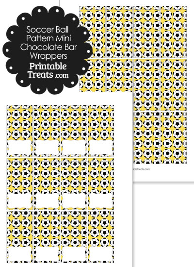 Yellow Soccer Ball Pattern Mini Chocolate Bar Wrappers from PrintableTreats.com
