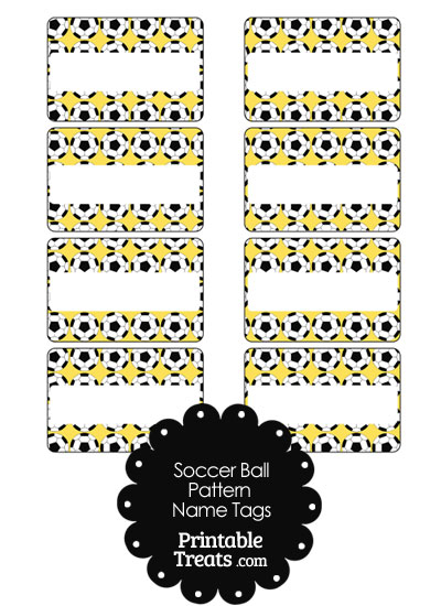 Yellow Soccer Ball Pattern Name Tags from PrintableTreats.com