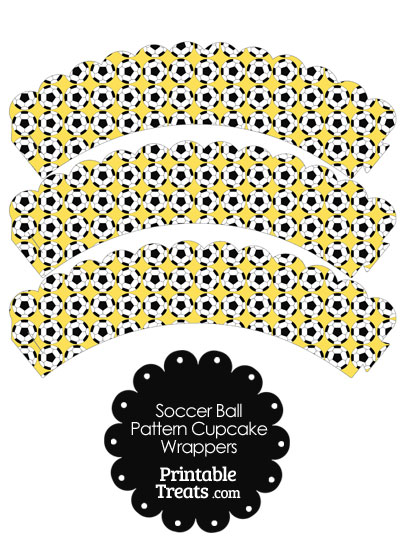 Yellow Soccer Ball Pattern Scalloped Cupcake Wrappers from PrintableTreats.com