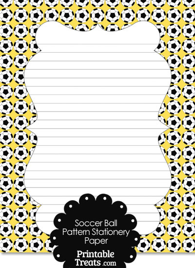 Yellow Soccer Ball Pattern Stationery Paper from PrintableTreats.com