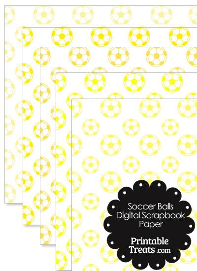 Yellow Soccer Digital Scrapbook Paper from PrintableTreats.com
