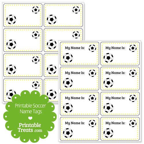 yellow soccer name tags