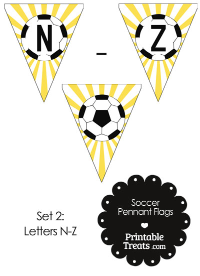 Yellow Soccer Party Flag Letters N-Z from PrintableTreats.com