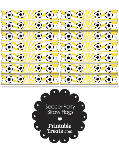 Yellow Soccer Party Straw Flags from PrintableTreats.com