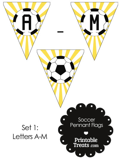 Yellow Soccer Pennant Banner Flag Letters A-M from PrintableTreats.com