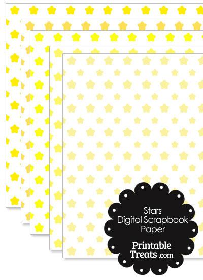 Yellow Star Digital Scrapbook Paper from PrintableTreats.com