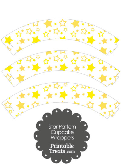 Yellow Star Pattern Cupcake Wrappers from PrintableTreats.com