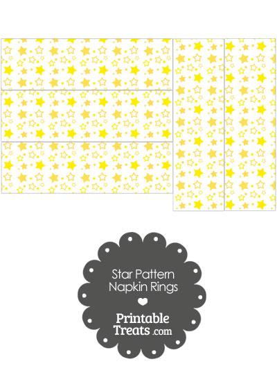 Yellow Star Pattern Napkin Rings from PrintableTreats.com