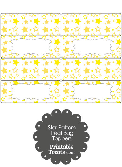 Yellow Star Pattern Treat Bag Toppers from PrintableTreats.com