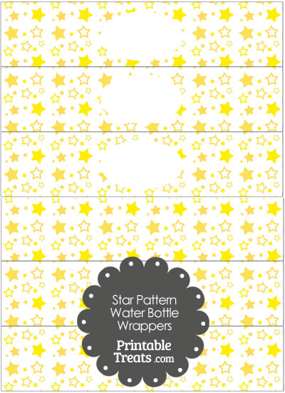 Yellow Star Pattern Water Bottle Wrappers from PrintableTreats.com