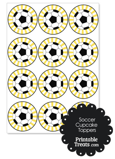 Yellow Sunburst Soccer Cupcake Toppers from PrintableTreats.com