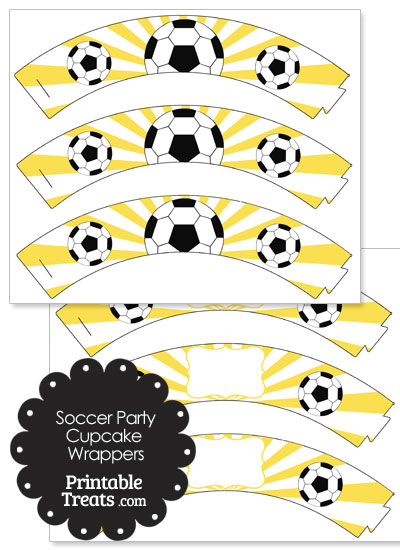 Yellow Sunburst Soccer Cupcake Wrappers from PrintableTreats.com