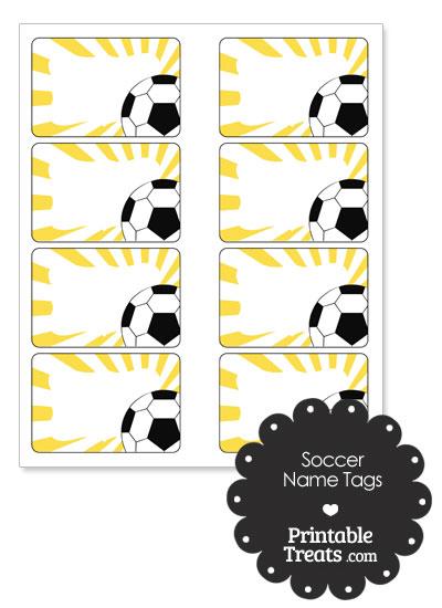 Yellow Sunburst Soccer Name Tags from PrintableTreats.com