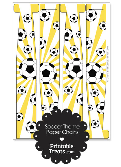 Yellow Sunburst Soccer Paper Chains from PrintableTreats.com
