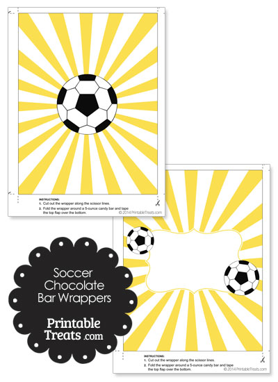 Yellow Sunburst Soccer Party Candy Wrappers from PrintableTreats.com
