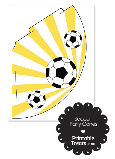 Yellow Sunburst Soccer Party Cones from PrintableTreats.com