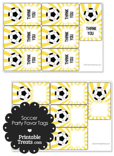 Yellow Sunburst Soccer Party Favor Tags from PrintableTreats.com