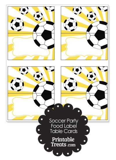Yellow Sunburst Soccer Party Food Labels from PrintableTreats.com
