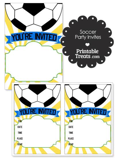 Yellow Sunburst Soccer Party Invites from PrintableTreats.com