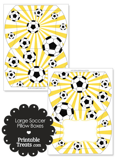 Yellow Sunburst Soccer Party Large Pillow Boxes from PrintableTreats.com