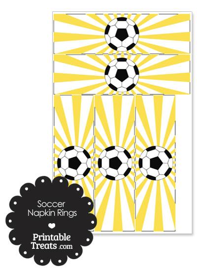 Yellow Sunburst Soccer Party Napkin Rings from PrintableTreats.com