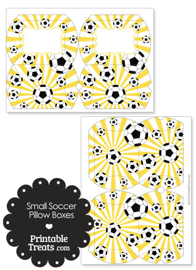 Yellow Sunburst Soccer Party Small Pillow Boxes from PrintableTreats.com