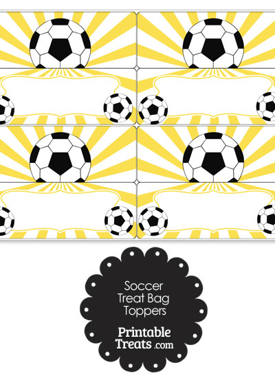 Yellow Sunburst Soccer Treat Bag Toppers from PrintableTreats.com