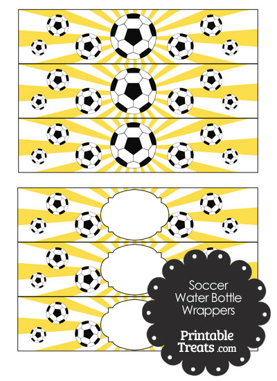 Yellow Sunburst Soccer Water Bottle Wrappers from PrintableTreats.com