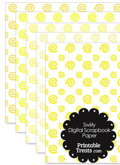 Yellow Swirls Digital Scrapbook Paper from PrintableTreats.com