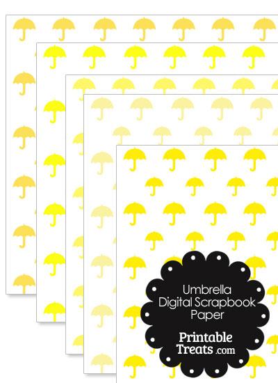 Yellow Umbrella Digital Scrapbook Paper from PrintableTreats.com