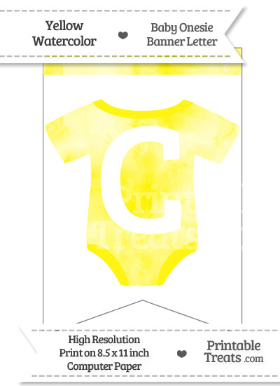 Yellow Watercolor Baby Onesie Bunting Banner Letter C from PrintableTreats.com