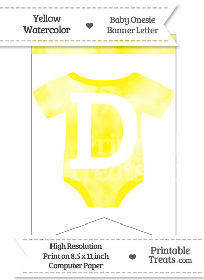 Yellow Watercolor Baby Onesie Bunting Banner Letter D from PrintableTreats.com