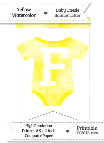 Yellow Watercolor Baby Onesie Bunting Banner Letter F from PrintableTreats.com