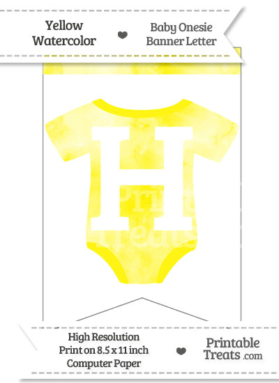 Yellow Watercolor Baby Onesie Bunting Banner Letter H from PrintableTreats.com
