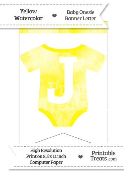 Yellow Watercolor Baby Onesie Bunting Banner Letter J from PrintableTreats.com