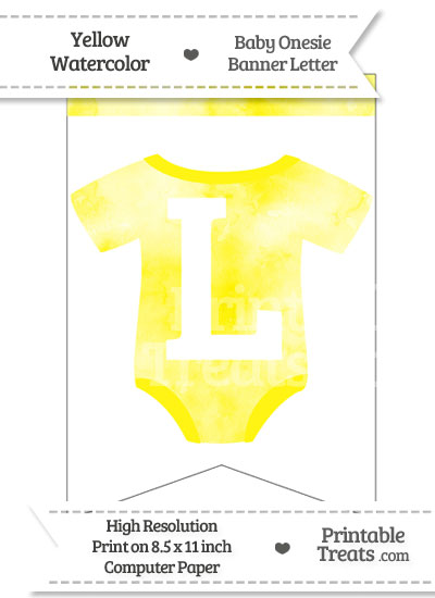 Yellow Watercolor Baby Onesie Bunting Banner Letter L from PrintableTreats.com