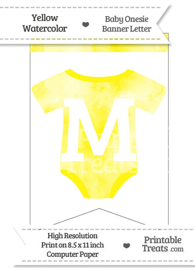 Yellow Watercolor Baby Onesie Bunting Banner Letter M from PrintableTreats.com
