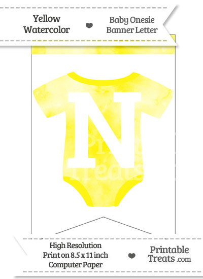 Yellow Watercolor Baby Onesie Bunting Banner Letter N from PrintableTreats.com