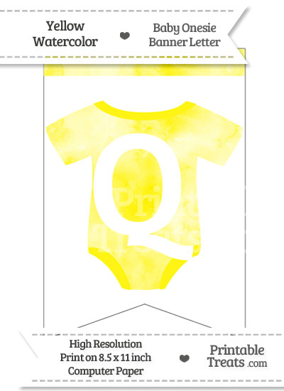 Yellow Watercolor Baby Onesie Bunting Banner Letter Q from PrintableTreats.com