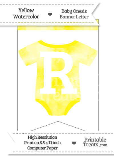 Yellow Watercolor Baby Onesie Bunting Banner Letter R from PrintableTreats.com