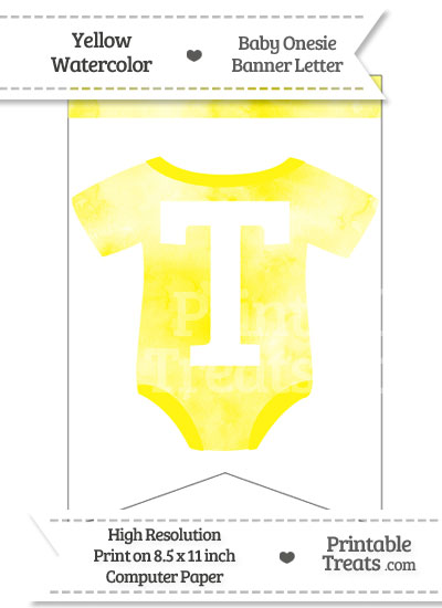 Yellow Watercolor Baby Onesie Bunting Banner Letter T from PrintableTreats.com