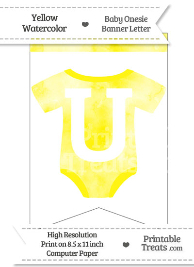 Yellow Watercolor Baby Onesie Bunting Banner Letter U from PrintableTreats.com