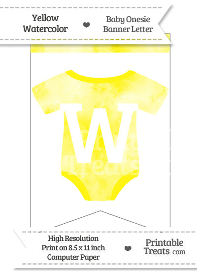 Yellow Watercolor Baby Onesie Bunting Banner Letter W from PrintableTreats.com