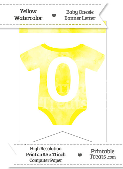 Yellow Watercolor Baby Onesie Bunting Banner Number 0 from PrintableTreats.com